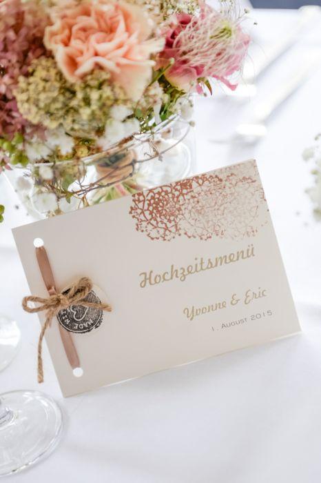 Detailaufnahme Hochzeitsmenü